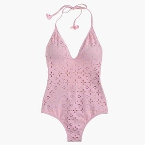 J. Crew Halter One-Piece Swimsuit-Laser-Cut Eyelet